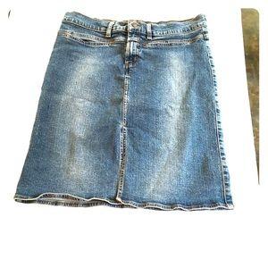 American Eagle denim jean skirt front slit
